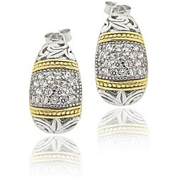 Icz Stonez Two-tone Silver Cubic Zirconia Half-hoop Earrings