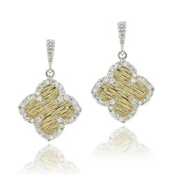 Icz Stonez Two-tone Silver Cubic Zirconia Flower Dangle Earrings