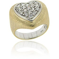 Icz Stonez Sterling Silver Cubic Zirconia Heart Ring