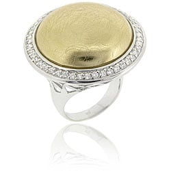 Icz Stonez Sterling Silver Cubic Zirconia Button Ring