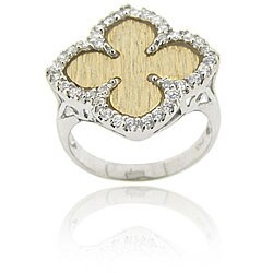 Icz Stonez Sterling Silver White Cubic Zirconia Flower Ring