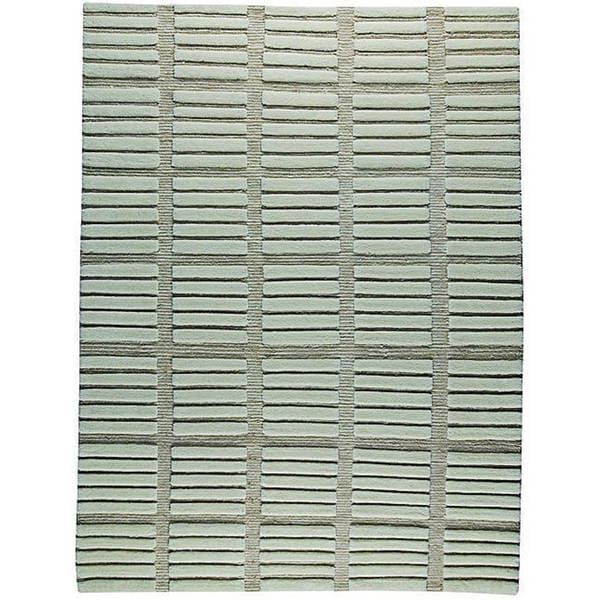 M.A.Trading Hand-knotted Piano White Wool Rug - 6'6 x 9'9