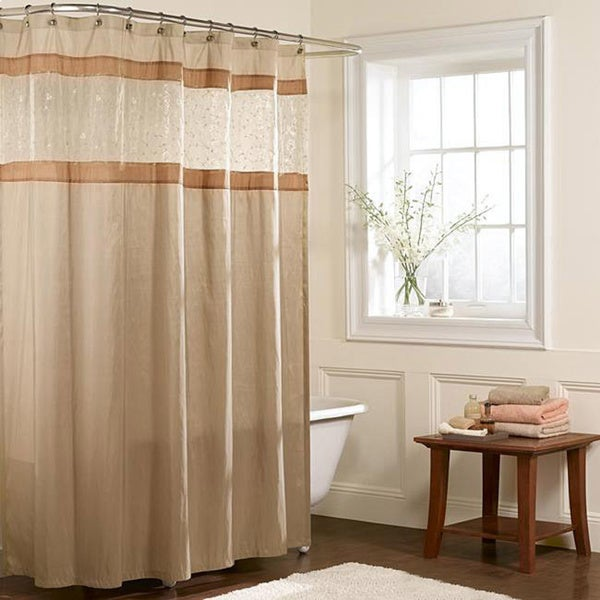 brown and white shower curtain. Maytex Embroidered Panel Fabric Shower Curtain  Free Shipping On