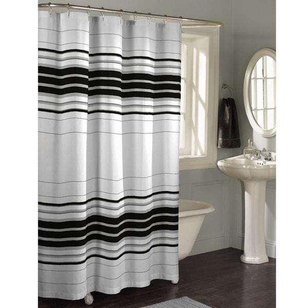 Maytex Horizontal Stripe Fabric Shower Curtain Free