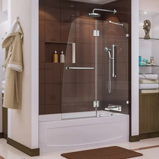 "DreamLine Aqua Lux 48 in. W x 58 in. H Frameless Hinged Tub Door - 48"" W"