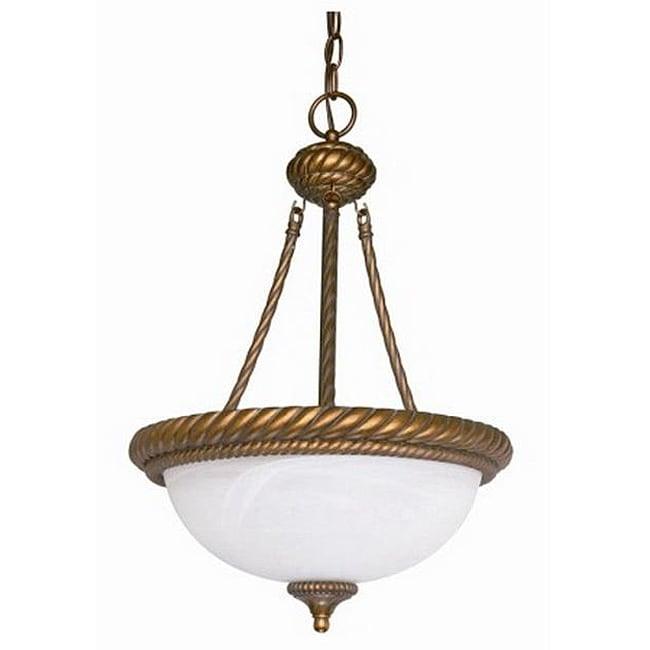 Tet-A-Tet 3-light Old Gold Alabster Glass Bowl Chandelier
