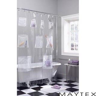 Maytex Mesh Pockets PEVA Shower Curtain