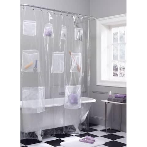 Maytex Mesh Pockets PEVA Shower Curtain