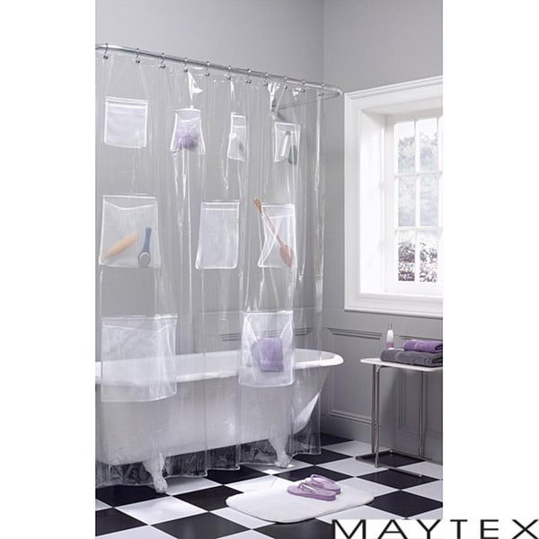 Shop Maytex Mesh Pockets PEVA Shower Curtain - Free Shipping On ...