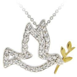 Icz Stonez Two-tone Icz Stonez Sterling Silver Cubic Zirconia Bird Necklace