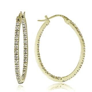 Icz Stonez 18k Gold over Sterling Silver Cubic Zirconia Oval Hoop Earrings