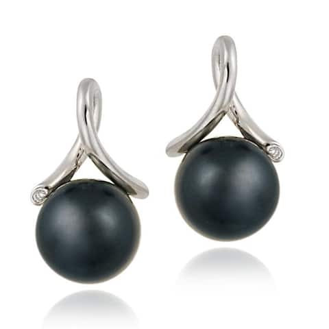 Icz Stonez Sterling Silver Cubic Zirconia and Faux Grey Pearl Earrings