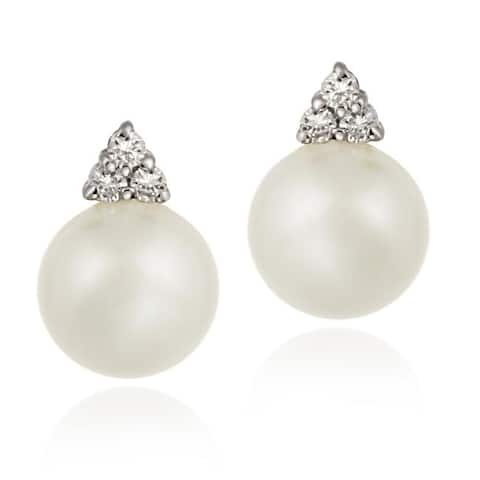 Icz Stonez Sterling Silver Cubic Zirconia Faux White Pearl Earrings - 10' x 13'