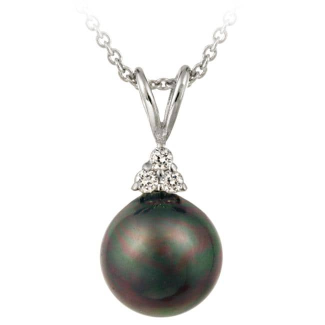 Icz Stonez Sterling Silver Cubic Zirconia Peacock Faux Pearl Necklace