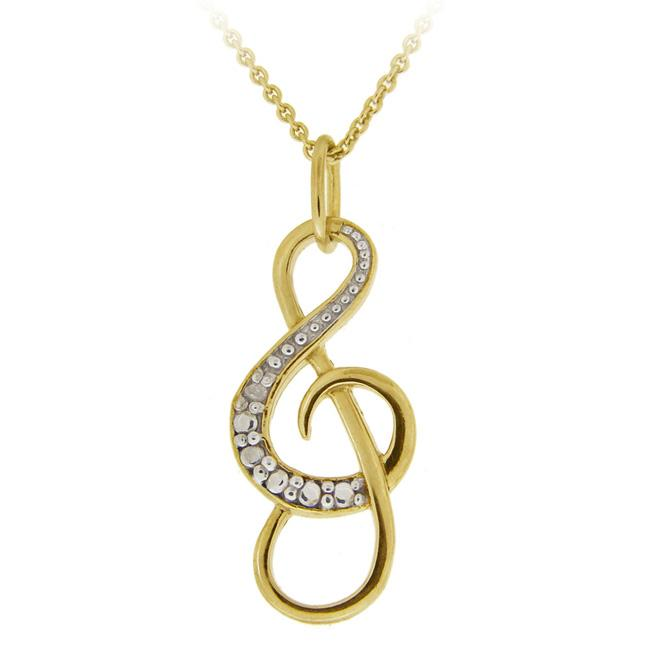 DB Designs 18k Gold over Sterling Silver Musical Note Necklace