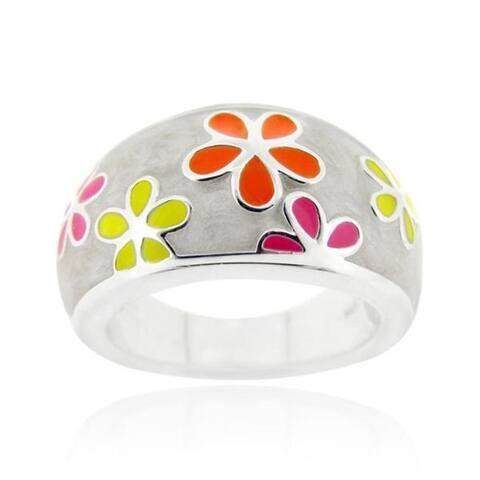Glitzy Rocks Sterling Silver Multi-enamel Flower Ring