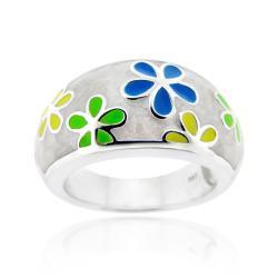 Glitzy Rocks Sterling Silver Multicolor Enamel Flower Ring