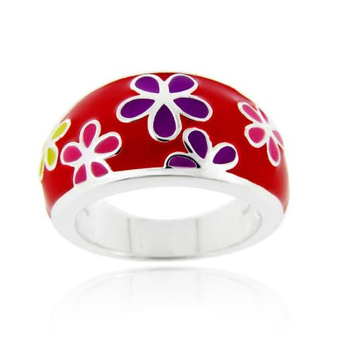Glitzy Rocks Sterling Silver Red Enamel Flower Ring
