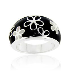 Glitzy Rocks Sterling Silver Black and White Enamel Flower Ring