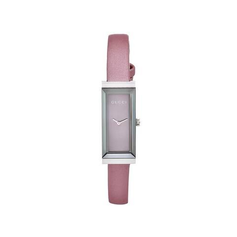 "Gucci Women's YA127502 'G-Frame' Timeless Pink Mirror Dial Satin Strap - 7'10"" x 9'10"""