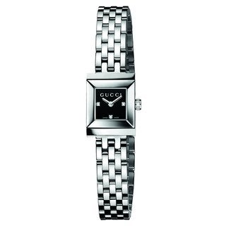 Gucci Women's G-Frame Diamond Accent Black Watch