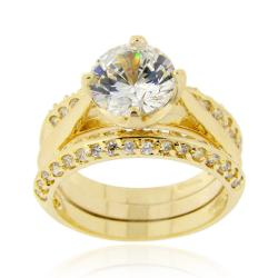Icz Stonez 18k Gold over Silver Cubic Zirconia Bridal Ring Set