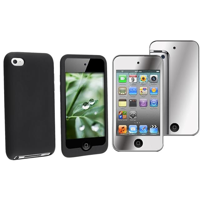 INSTEN Black Soft Silicone iPod Case Cover/ Mirror Screen Protector for Apple iPod Touch Gen4