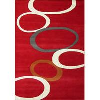 Alliyah Handmade Red New Zealand Blend Wool Rug - 5' x 8'