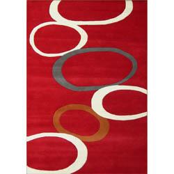 Alliyah Handmade Red New Zealand Blend Wool Rug (5' x 8') - 5' x 8'