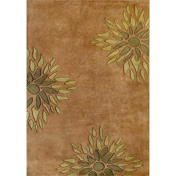 Alliyah Handmade Brown New Zealand Blend Wool Rug - 5' x 8'