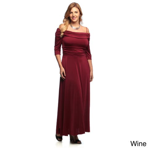 Evanese Women's Plus Size Off-the-shoulder 3/4-sleeves Dress