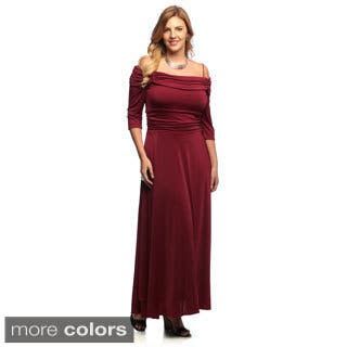 Evanese Women's Plus Size Off-the-shoulder 3/4-sleeves Dress|https://ak1.ostkcdn.com/images/products/5615452/P13375215.jpg?impolicy=medium