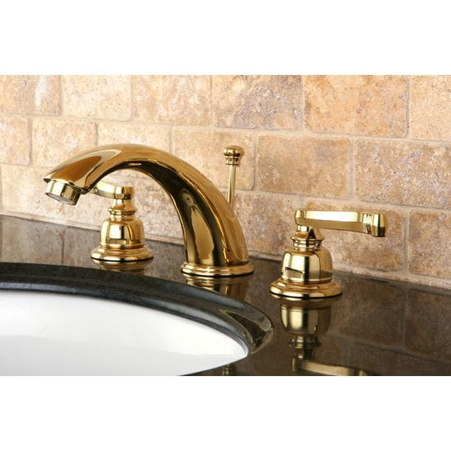 French handle polished brass widespread bathroom faucet free shipping today for Polished gold bathroom faucets