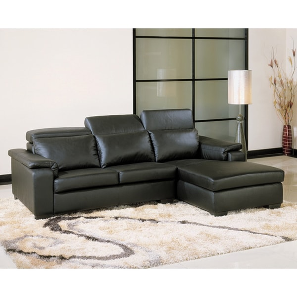 Evora Black Adjustable Leather Sectional