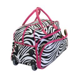 World Traveler 21-inch Zebra Carry-On Rolling Duffel Bag - Thumbnail 1