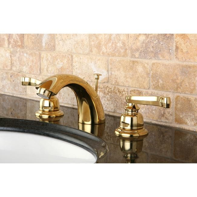 French Handle Polished Brass Mini Widespread Bathroom Faucet