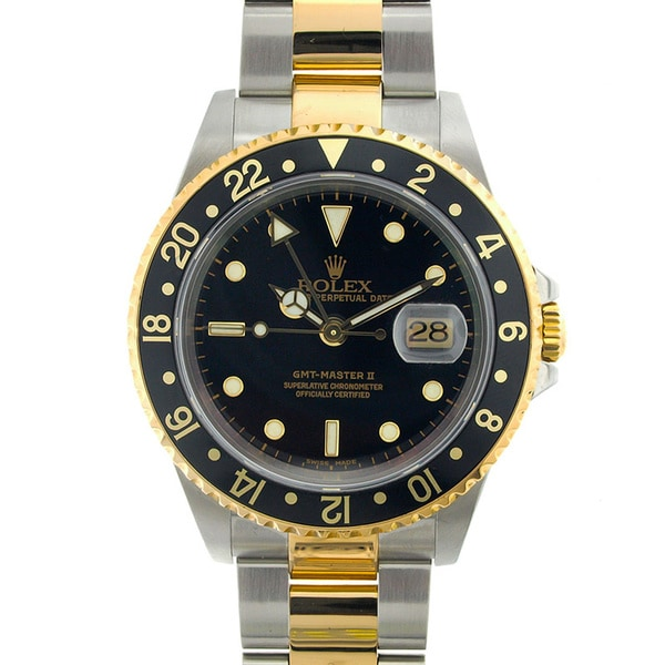 Pre-owned Rolex Men's GMT Master II Two-tone Black Dial Watch