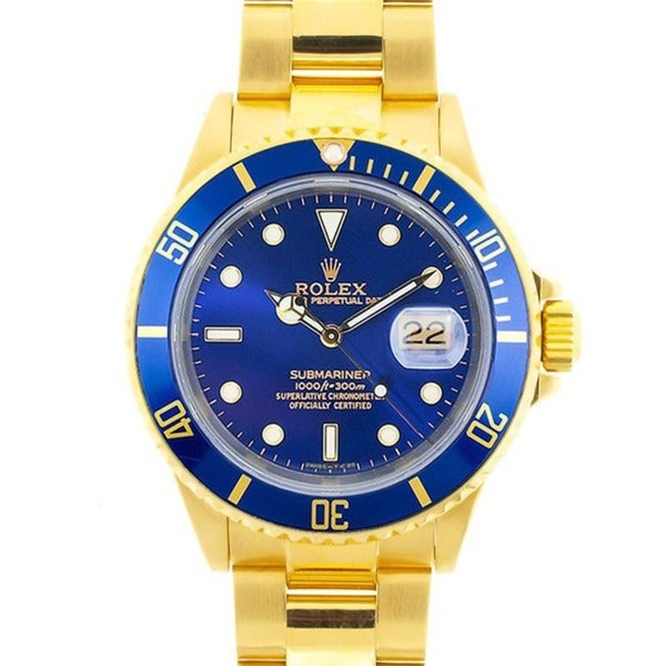 Pre-owned Rolex Men's Submariner Date 18K Gold Blue Dial Watch
