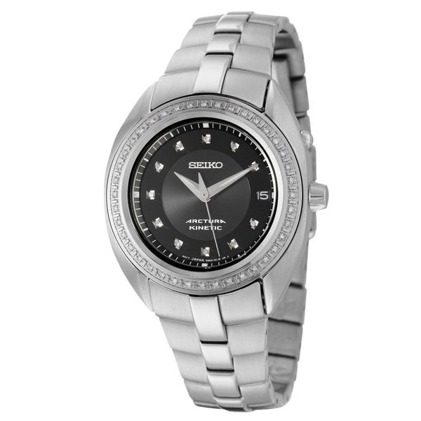 Seiko Men's 'Arctura' Stainless Steel Kinetic Diamond Watch