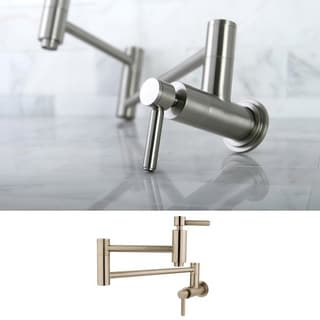 Kingston Brass Concord Satin Nickel Wallmount Pot Filler Kitchen Faucet