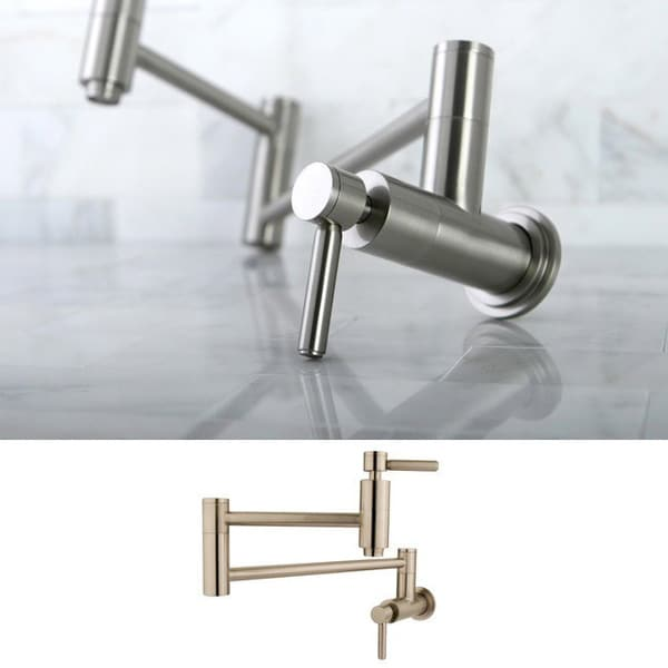 Kingston brass concord satin nickel wallmount pot filler Pot filler faucet