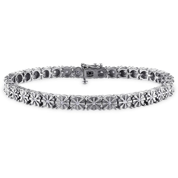 Miadora Sterling Silver 1/2ct TDW Diamond Tennis Bracelet