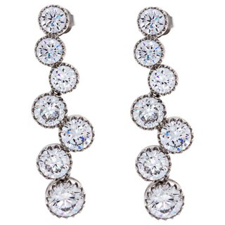 NEXTE Jewelry Silvertone Graduated Cubic Zirconia Dangle Earrings