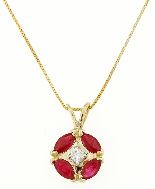 Marquee Jewels 14k Yellow Gold Diamond Ruby Pendant