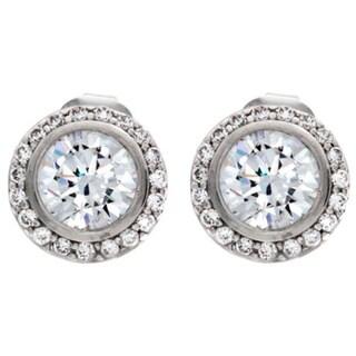 NEXTE Jewelry Silvertone Cubic Zirconia Large Cassion Stud Earrings