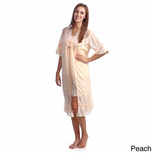 Happie Brand Women's 2-piece Robe and Chemise Peignoir Set