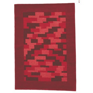 M.A.Trading Hand-knotted Nule Red Wool Rug (4'6 x 6'6)