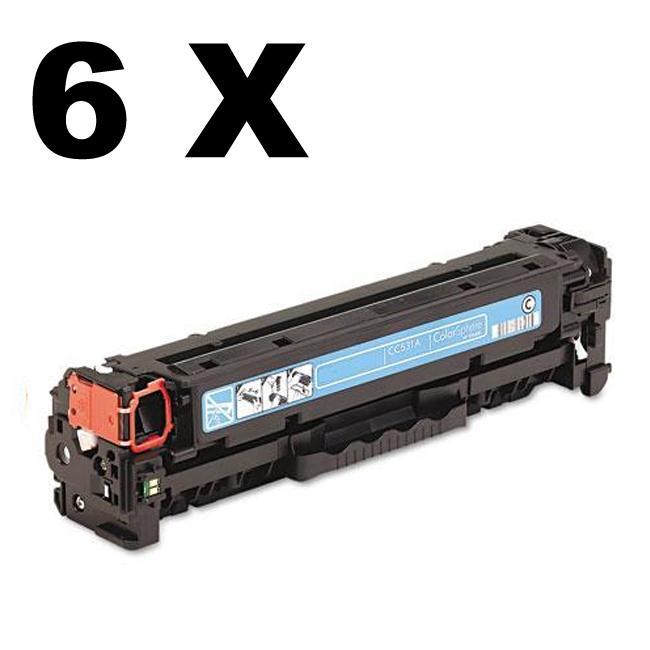 HP CC531A Compatible Cyan Laser Toner (Pack of 6) (Refurbished)