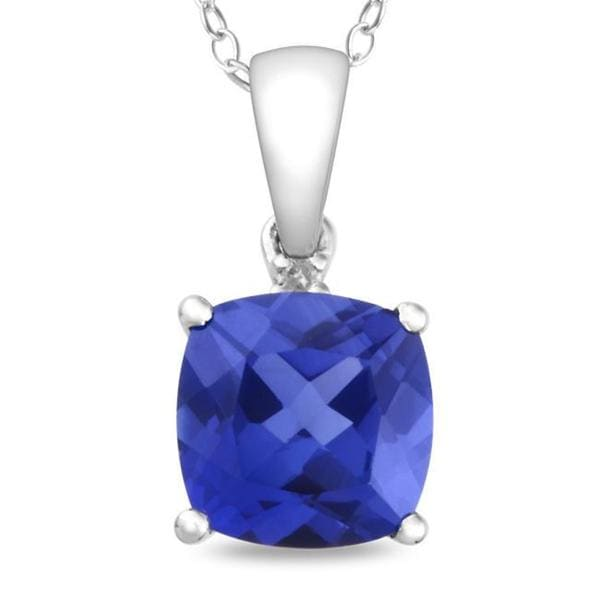 Miadora 10k White Gold Created Sapphire and Diamond Accent Necklace
