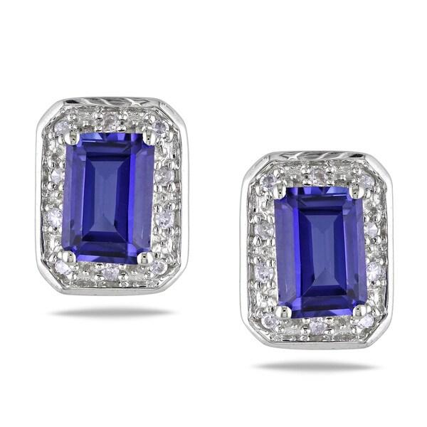 Miadora 10k Gold Created Sapphire and 1/10ct TDW Diamond Earrings (G-H, I2-I3)